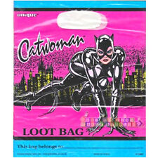 CATWOMAN VINTAGE PLASTIC FAVOR BAGS (8) ~ Birthday Party Supplies Pink Treat