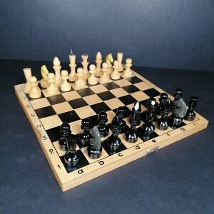 Wooden Folding Chess Set Vintage Russian? Complete Board Storage Box Portable
