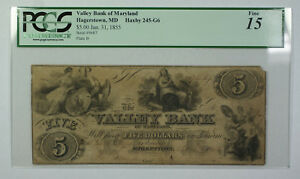 Jan. 31 1855 $5 Valley Bank of Maryland Hagerstown MD PCGS F-15 Haxby 245-G6