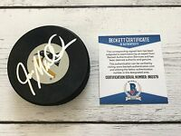 Joe Mullen Signed Autographed Pittsburgh Penguins Puck Beckett BAS COA a