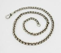 Antique STERLING SILVER POCKET WATCH CHAIN c1900 - 18.5 Inches