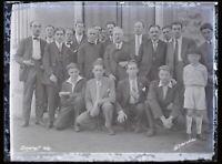 Francia Orgerus Groupe Uomini 1931 Foto Negativo Placca Da Lente Vintage