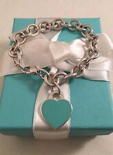 """Tiffany & Co Sterling Silver & Blue Enamel Heart Tag Link Bracelet 7"""" RRP $635"""