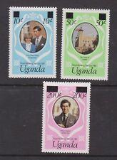 1981 Royal Wedding Charles & Diana MNH Stamp Set Uganda SG 341a-343a Large Opt