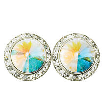 20MM AB AUTHENTIC Swarovski Elements Round Crystal Earrings-USA MADE- PIERCED