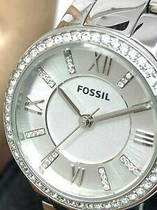 Fossil Women's Watch ES3282 Virginia Silver Tone Stainless Steel Quartz 30mm