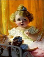 ANTIQUE DOLL CHILD GIRL blonde curls BRASS BED VINTAGE CANVAS ART PRINT LARGE