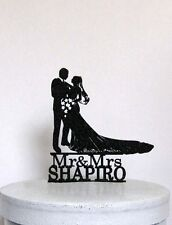 Personlaized Wedding Cake Topper - Bride and Groom silhouette with Mr & Mrs Last