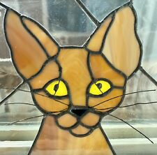 """Stained Glass Abyssinian Sphynx Rex Oriental Cat Wire Whiskers 8"""" x 7"""" Fantastic"""