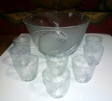 Vtg Anchor Hocking Crystal JUBILEE 9 Pc Punch Bowl Set~ 6 Qt Bowl & 8 Punch Cups