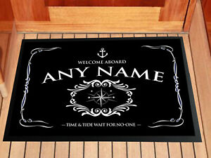 Personalised Boat entrance mat, Barge, Yacht in door Black Anchor 60 x 40 cm