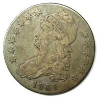 1808 Capped Bust Half Dollar 50C - Sharp VF Details - Rare Coin!
