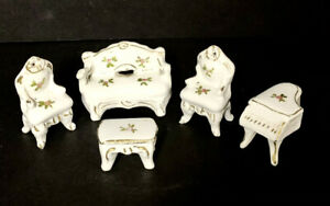 Vintage Doll House Furniture Porcelain Victorian Lot of 5 Pieces Flowers Gold +1