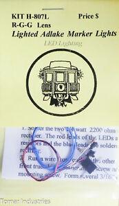 Tomar Industries HO #H-807L (LED) R-G-G Lens Lighed Adlake Marker Lights (Brass)