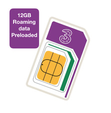 Three Network Trio Roaming Sim card,Preloaded 12GB Roaming Data for 71 countries