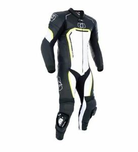 OXFORD STRADALE 1 PIECE MENS LEATHER MOTORCYCLE SUIT BLACK WHITE FLUO