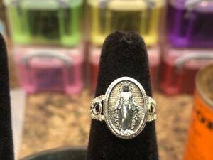 Blessed Virgin Mary ladies Ring 925 Sterling Silver- Rose-Gold Plated