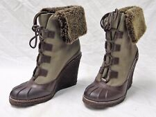 TORY BURCH FAIRFAX WEDGE BOOTIE SIZE 9 IN ESPRESSO/OLIVE/COCONUT NEW IN BOX!