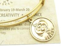 Wind and Fire Zodiac Pisces Gold Charm Wire Bangle Stackable Bangle Bracelet USA