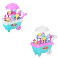 19Pcs Set Ice Cream Trolley Cart Plastic Pretend Play Food Dessert Toy for E1Z7