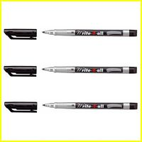 3 X Stabilo Write-4-All Evidenziatore Permanente Impermeabile Nero - Medio (M)