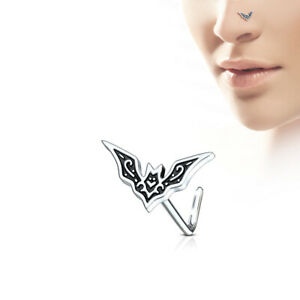 316L Surgical Steel Nose stud L shape with bat on top