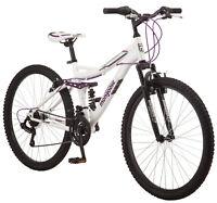 Mongoose Ledge 2.1 Mountain Bike, 26-inch wheels, 21 speeds, womens frame, white