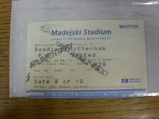 03/03/2001 Ticket: Reading v Rotherham United [Complimentary] . Any faults with