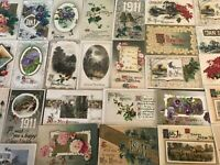 Lot of 27 Antique Winsch~New Year Postcards with Flowers~Scenes-In Sleeves-p892
