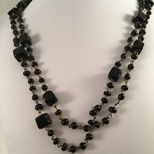 Vintage Jewellery with Jet Black Glass Beads Necklace Antique Opera Jewelry