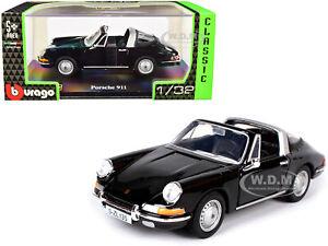 PORSCHE 911 TARGA CONVERTIBLE BLACK 1/32 DIECAST MODEL CAR BY BBURAGO 43214