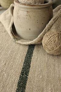 Antique GRAIN SACK RARE DEEP GREEN stripe Feed bag homespun COARSE hemp linen