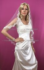 MANTILLA VEIL WITH BEADED LACE FINGERTIP IN WHITE FOR SPANSIH CATHOLIC WEDDINGS