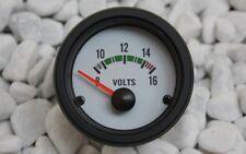 voltaje indicador VOLTIOS Voltímetro 52mm 8-16v Blanco Retro OLDSCHOOL Clásico