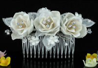 Bridal Wedding Ivory Fabric 3D Rose Crystal Hair Comb AT1485
