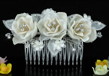 Bridal Wedding Ivory Fabric 3D Rose Crystal Hair Comb AT1485
