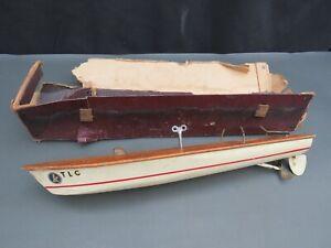Vintage Kellner clockwork model boat with original box