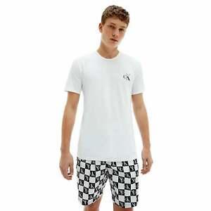 Male Calvin Klein Mens CK One Shorts Pyjama Set - White/CheckLogo