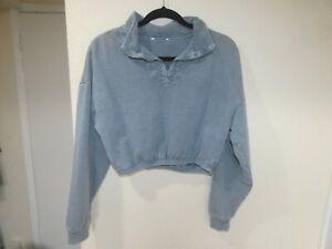 topshop blue cropped sweatshirt half-zip funnel neck