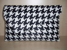 OVER SIZED BLACK & white hounds-tooth asymmetrical clutch bag, fully lined.