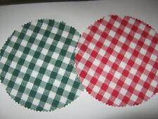 14 Stoffdeckchen Hauben rot/ grün/weiß m.Herzchen für Marmeladengläser Deckchen