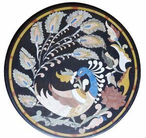 "24"" Black Marble Center Table Top Peacock inlay Handmade Art Home Decor"