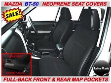 MAZDA BT-50 MK2 FULL-BACK FRONT & REAR NEOPRENE SEAT COVERS WITH MAP POCKETS X 2
