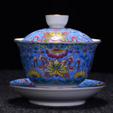 Jingdezhen craft porcelain gaiwan handpainted tureen covered bowl cup saucer lid
