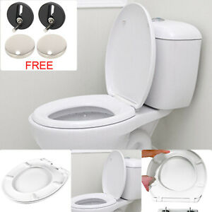 SLOW SOFT CLOSE WHITE OVAL BATHROOM TOILET SEAT WITH BOTTOM FIXING HINGES