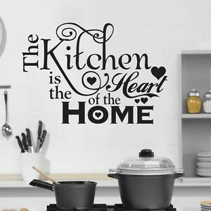 The Kitchen is the Heart of the Home Quote Wall Stickers Removable Decals DIY