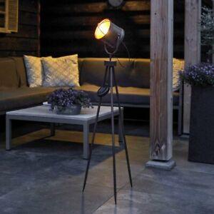 Solar Power Outdoor LED Light Up Tripod Spotlight Lamp | Industrial Studio Loft