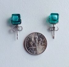 Antica Murrina Lucia--Murano Glass And Silver Petit Cube Earrings