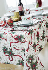 JOY TABLE CLOTHS HOLY LEAF RIBBON GOLD SCROLL CREAM PARTY CHRISTMAS OCCASIONS