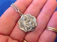 Creed St Anne with Mary Pewter Necklace Pendant Saint Medal Diamond Cuts Protect